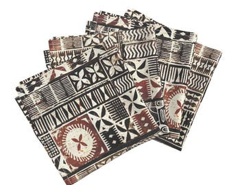 Cloth Dinner Napkins - PanPacific Tapa 2a by Muhlenkott - Tiki Hawaiian Mudcloth Brown Cotton Napkins (Set of 4) by Roostery Spoonflower