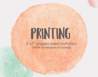"10 invites+10 envelopes/Printed invitations add on,5""x7"" printed invitations,invitation printing service,printed invitation with envelope"