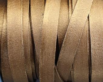 10mm Flat Leather Strap - Metallic Brown
