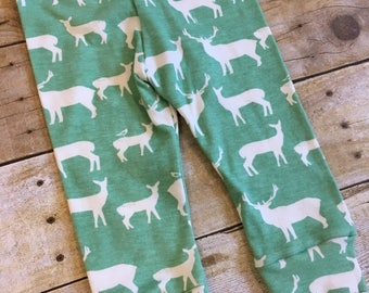 SALE! 9m organic baby leggings - baby boy cuffed pants - baby gift - gender neutral baby - elk print pants