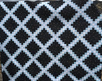 Queen Black Blue and White Double Irish Chain Quilt