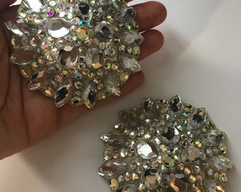Large size crystal pasties on silver base