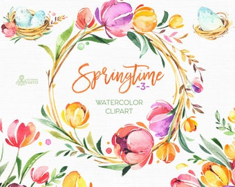 Springtime 3. Watercolor floral clipart, wreaths, branches, tulips, bouquet, frame, spring, template, flowers, flourish, sunny, easter, eggs