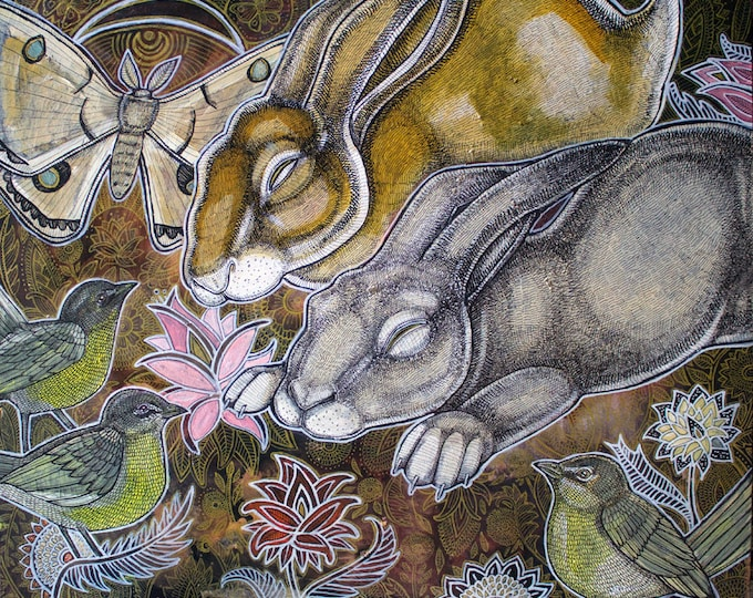 Dreaming Rabbits Original Art by Lynnette Shelley