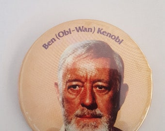 "Vintage 1977 Star Wars Episode IV Ben (Obi Wan) Kenobi plastic coated button 3"" diameter"