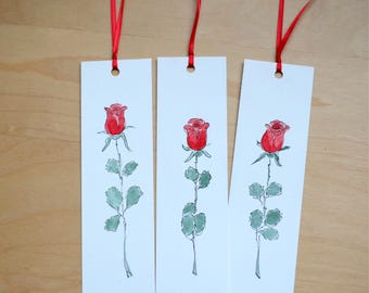 Red Rose Bookmarks/Hand Made Bookmarks/Hand Painted Bookmarks/Unique Bookmarks/Watercolour Bookmarks - Paper Gift