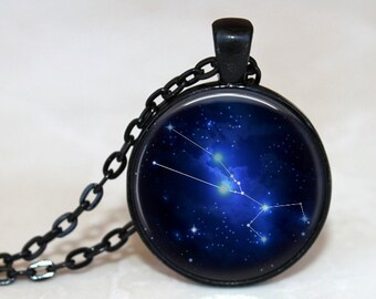 Taurus - Zodiac Pendant Necklace or Key Chain - Choice of 4 Bezel Colors - April 20th - May 20th Birthday, Constellations, Space