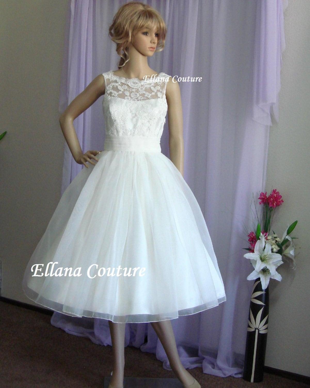 Vintage Inspired Wedding Dresses: Sandra Beautiful Vintage Inspired Tea Length Wedding Dress