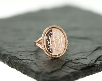 925 Sterling Silver Oval Nautical Rope Monogram Ring, Rose Gold Monogram Ring, Bridesmaids Gifts, Oval Ring, Rose Gold