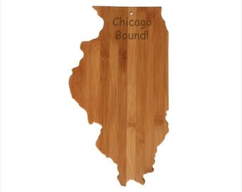 Personalized Illinois Cutting Board - Illinois Shaped Bamboo Cutting Board, Custom Engraved - Wedding Gift, Couples Gift, Housewarming Gift