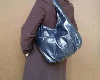 Blue Leather Hobo Bag with Pockets, Slouchy Leather Bag, Fashion Bags, Casual Purse, Handmade Bags and Purses, Blue Leather Handbag, Alicia