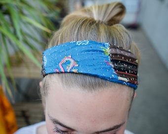 Kantha-Stitched Thick Headband
