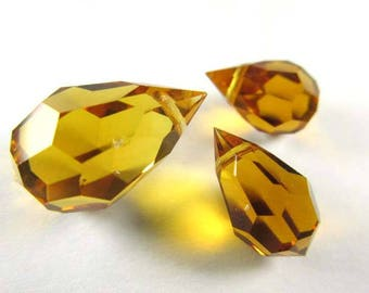 Preciosa Czech Crystal Topaz Sunflower Harvest Gold 20mm or 15mm Faceted Teardrop Top Drilled Briolette Jewelry Beads