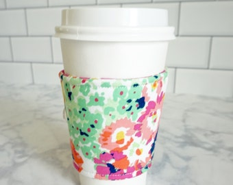Reusable Coffee Sleeve-Bright Floral Print