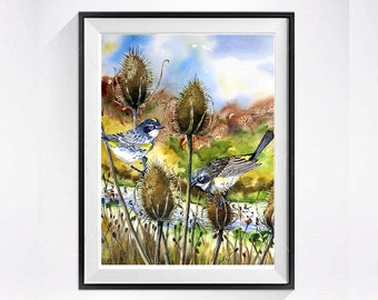 Bird painting - Print of a watercolor painting - Yellow-rumped Warbler painting, bird art, animal art - Nature, wild life, 8x10, Easter Sale