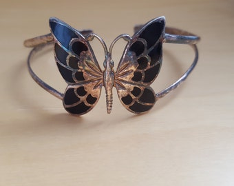 vintage silver 925 onyx inlaid butterfly bangle