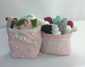 Pink Baby Bear Cloth Baskets