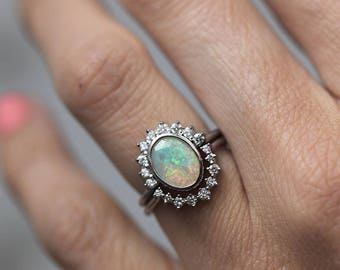 Opal Diamond Ring Set, Ethiopian Opal Ring, Opal Wedding Ring Set, Rainbow Opal Ring With Matching Diamond Band, Diamond Ring Set, Minimalvs