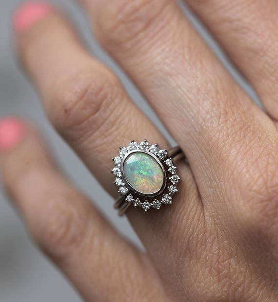 Opal Diamond Ring Set Ethiopian Opal Ring Opal Wedding Ring