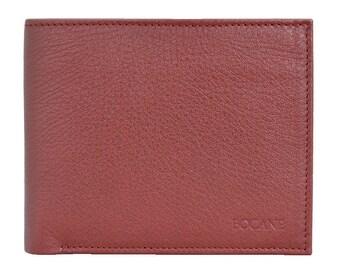 Slim Leather Wallet, Bifold, Pebbled Cognac Color Leather