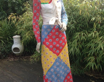 YOUR OWN THINGS california 3 piece hippie patchwork maxi skirt suit xs s uk 8 10