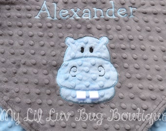 Personalized baby blanket minky- baby hippo charcoal grey and baby blue- large stroller blanket 30x35