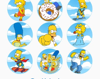 The Simpsons, Set of 2 Edible Transfer Sheets for making Chocolate Oreo & Cupcake toppers, Homer, Bart, Marge, Maggie, Lisa Theme Birthday