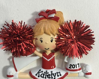 Personalized Red Cheerleader Christmas Ornament- Free Personalization