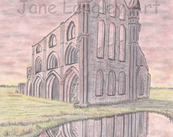 Whitby Abbey : Limited edition print of my original artwork, A4 size, No 1 of 100