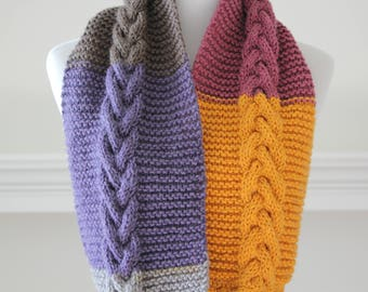 Knit Cowl Gray, Purple, Brown, Yellow Infinity Scarf, Circle Scarf