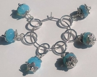 Blue Fancy Beaded Stitch Markers for Knitting