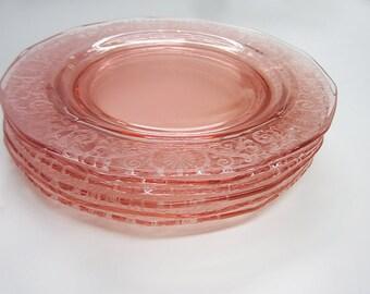 6 Fostoria Pink Versailles Lunch Plates Depression Elegant Glass
