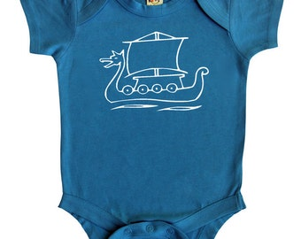 Viking Ship Silhouette Baby Bodysuit