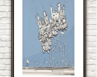 City of Stakes, Surrealism, architectural Drawing, Architecture sketch