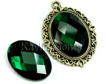 Oval 18x25 Mirror Glass Cabochon Cab Faceted Checker Cut Dome -Emerald- 2pcs