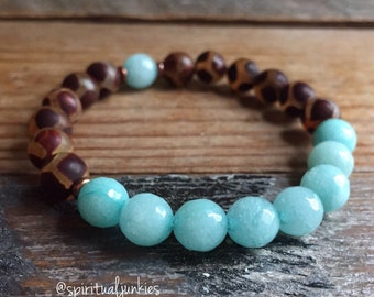Dzi Agate + Amazonite | Spiritual Junkies | Yoga + Meditation | Stackable Mala Bracelet