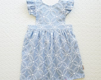 EMBROIDERED STRIPE PINNY - Girls Pinny Dress, Baby Pinny Dress Playsuit, Pinafore