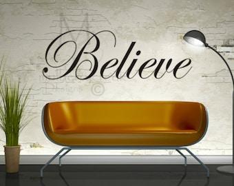 Vinyl Decal Believe Inspirational Vinyl Lettering- Believe Vinyl Decals