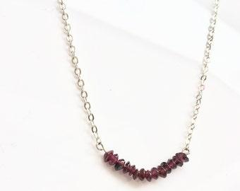 Ruby bar necklace, bar necklace, ruby necklace, raw ruby necklace, gemstone necklace,