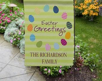 Easter Greetings Personalized Easter Egg Garden Flag