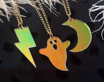Radiant Moon, Ghost, or Lightning Bolt Simple Charm Necklace, Laser Cut Acrylic, Plastic Jewelry