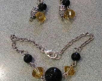 Harry Potter Inspired Hufflepuff Bracelet and Earrings Set