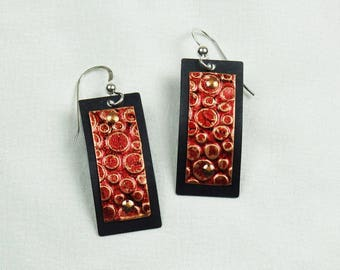 Black Art Metal Earrings with Red Textured Copper