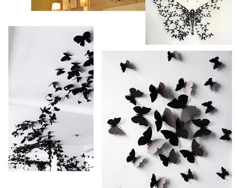 New style European Stereoscopic wall sticker 3D  Butterflies Wall decals 3D butterflies wall decal- set of 24 various sizes, 3 colors