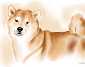 Shiba Inu watercolor print on canvas