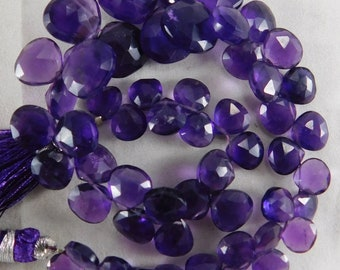 """9"""" Natural Amethyst Classic Semi Precious Faceted Heart Shape Free Shipping Beads 6-12 mm. H36-27"""
