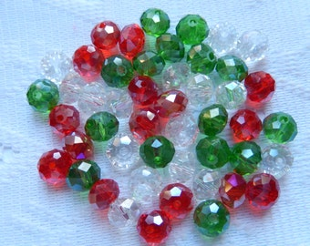 24  Christmas Mix Ruby Red Green & Clear AB Rondelle Crystal Beads  8mm x 6mm