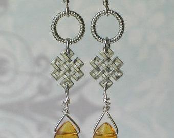 Silver Celtic Knot, Amber Glass earrings, Outlander Inspired
