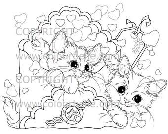 Instant Download Kittens Special Delivery 300 Dpi Jpg Light Commercial Use Playful Digi Stamp Digital