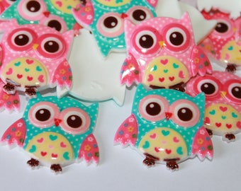 Owl embellishment flat backs, acrylic cabochons, lot of 6 assorted color owl embellishments, beautiful baby color owls, 30*34 mm owls